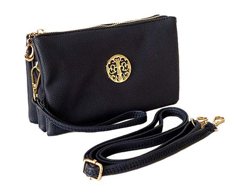 MEDIUM MULTI-COMPARTMENT CROSS-BODY CLUTCH BAG WITH WRIST AND LONG STRAPS - NAVY BLUE