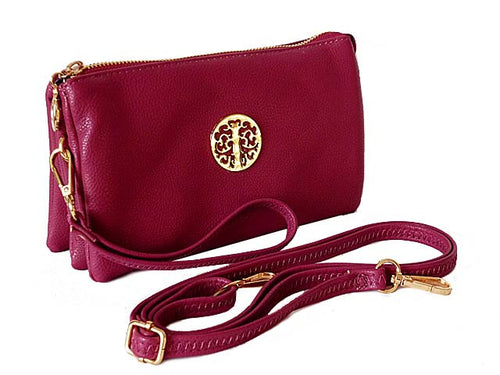 MEDIUM MULTI-COMPARTMENT CROSS-BODY CLUTCH BAG WITH WRIST AND LONG STRAPS - PURPLE