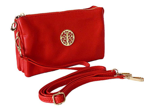 A-SHU MEDIUM MULTI-COMPARTMENT CROSS-BODY CLUTCH BAG WITH WRIST AND LONG STRAPS - RED - A-SHU.CO.UK
