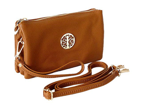 MEDIUM MULTI-COMPARTMENT CROSS-BODY CLUTCH BAG WITH WRIST AND LONG STRAPS - TAN