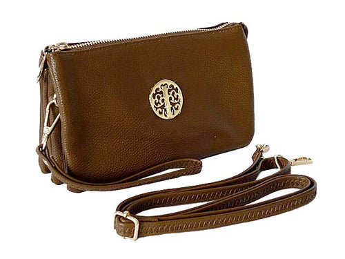 A-SHU MEDIUM MULTI-COMPARTMENT CROSS-BODY CLUTCH BAG WITH WRIST AND LONG STRAPS - TAUPE BROWN - A-SHU.CO.UK