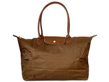 MEDIUM PART GENUINE LEATHER BROWN FOLD-AWAY TRAVEL SHOPPER TOTE HANDBAG