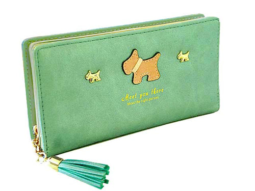 METALLIC BLUE / GREEN MULTI-COMPARTMENT DOG PURSE WALLET WITH TASSEL