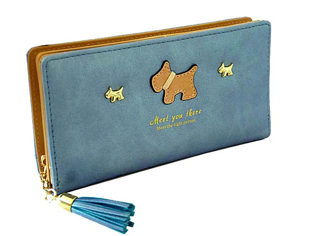 METALLIC BLUE MULTI-COMPARTMENT DOG PURSE WALLET WITH TASSEL