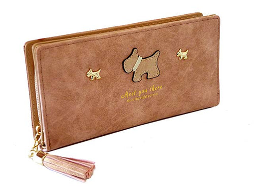 METALLIC BLUSH PINK MULTI-COMPARTMENT DOG PURSE WITH TASSEL
