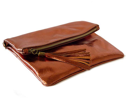 METALLIC BRONZE LARGE GENUINE LEATHER FOLD-OVER ENVELOPE CLUTCH BAG WITH TASSEL AND LONG STRAP