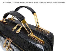 A-SHU GOLDEN NUDE METALLIC CROC EFFECT MULTI-COMPARTMENT HOLDALL HANDBAG / SHOULDER BAG - A-SHU.CO.UK