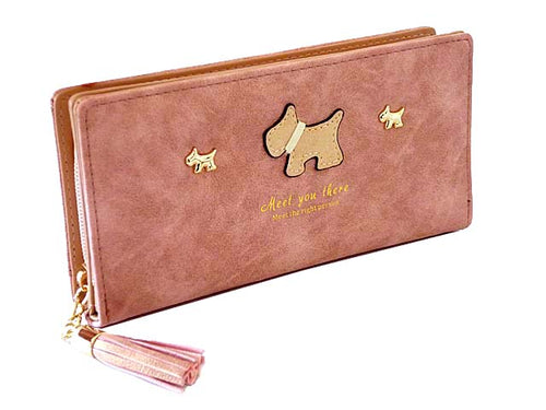 A-SHU METALLIC DARK PINK MULTI-COMPARTMENT DOG PURSE WALLET WITH TASSEL - A-SHU.CO.UK