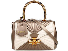 METALLIC GOLD BUTTERFLY HOLDALL HANDBAG WITH LONG SHOULDER STRAP