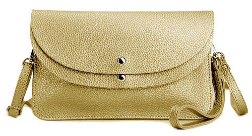 METALLIC GOLD ENVELOPE MULTI-POCKET CLUTCH BAG WITH WRISTLET AND LONG SHOULDER STRAP