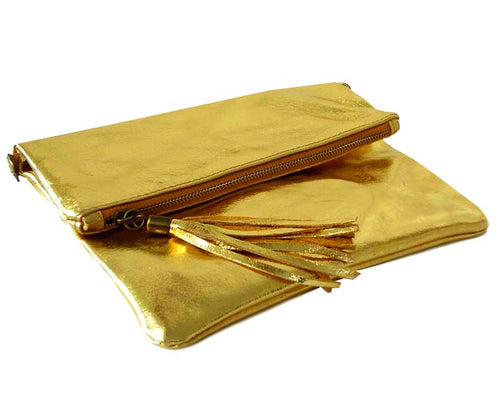 METALLIC GOLD LARGE GENUINE LEATHER FOLD-OVER ENVELOPE CLUTCH BAG WITH TASSEL AND LONG STRAP
