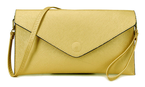 METALLIC GOLD OVER-SIZED ENVELOPE CLUTCH BAG WITH LONG CROSS BODY AND WRISTLET STRAPS