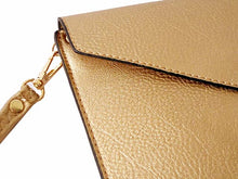 A-SHU METALLIC GOLD OVER-SIZED ENVELOPE CLUTCH BAG WITH LONG CROSS BODY AND WRISTLET STRAP - A-SHU.CO.UK