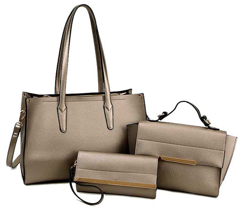 A-SHU METALLIC GREY TOTE HANDBAG SET WITH SMALL HOLDALL CROSS BODY BAG AND CLUTCH BAG / PURSE WALLET - A-SHU.CO.UK