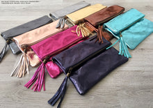 METALLIC FUSCHIA PINK LARGE GENUINE LEATHER FOLD-OVER ENVELOPE CLUTCH BAG WITH TASSEL AND LONG STRAP