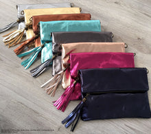 METALLIC NAVY BLUE LARGE GENUINE LEATHER FOLD-OVER ENVELOPE CLUTCH BAG WITH TASSEL AND LONG STRAP