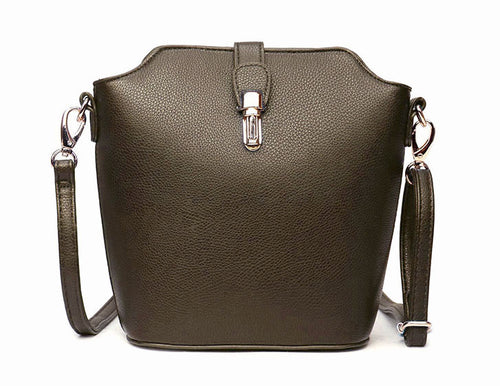 METALLIC PEWTER CROSS BODY BAG WITH LONG OVER SHOULDER STRAP