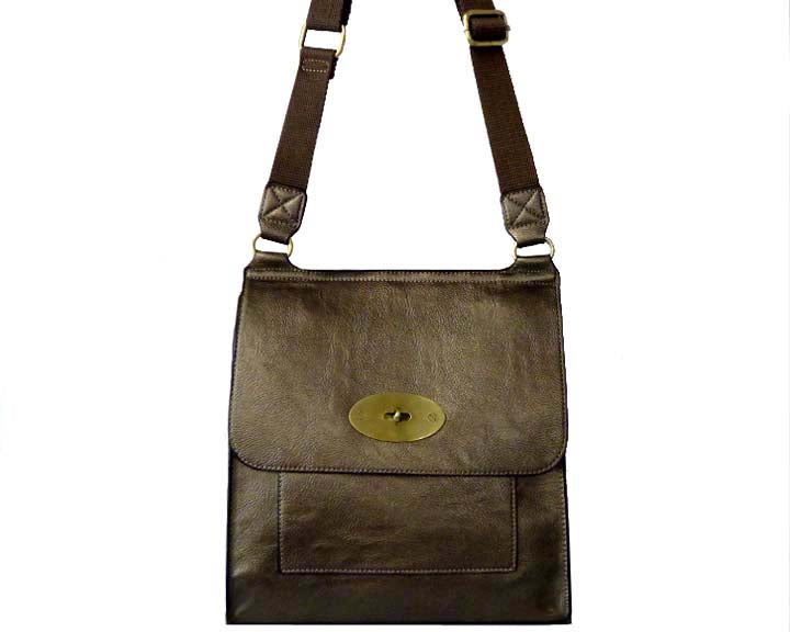 METALLIC PEWTER GREY FAUX LEATHER TURN-LOCK MULTI POCKET CROSS BODY SHOULDER BAG
