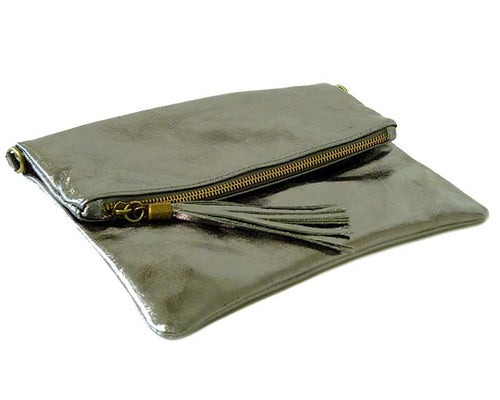 METALLIC PEWTER GREY LARGE GENUINE LEATHER FOLD-OVER ENVELOPE CLUTCH BAG WITH TASSEL AND LONG STRAP