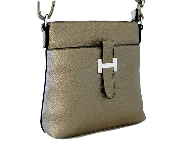 METALLIC PEWTER MULTI POCKET CROSS BODY MESSENGER BAG