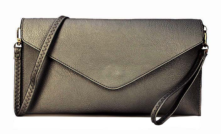 A-SHU METALLIC PEWTER OVER-SIZED ENVELOPE CLUTCH BAG WITH LONG CROSS BODY AND WRISTLET STRAP - A-SHU.CO.UK