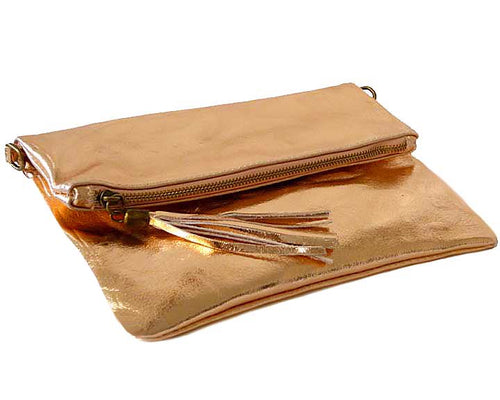 METALLIC ROSE GOLD LARGE GENUINE LEATHER FOLD-OVER ENVELOPE CLUTCH BAG WITH TASSEL AND LONG STRAP