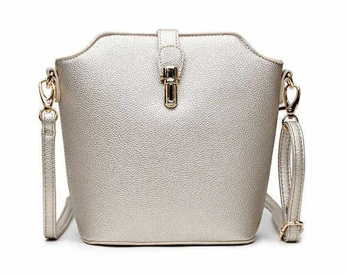 METALLIC SILVER CROSS BODY BAG WITH LONG OVER SHOULDER STRAP