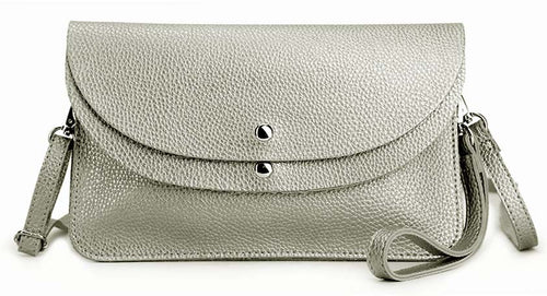 METALLIC SILVER ENVELOPE MULTI-POCKET CLUTCH BAG WITH WRISTLET AND LONG SHOULDER STRAP