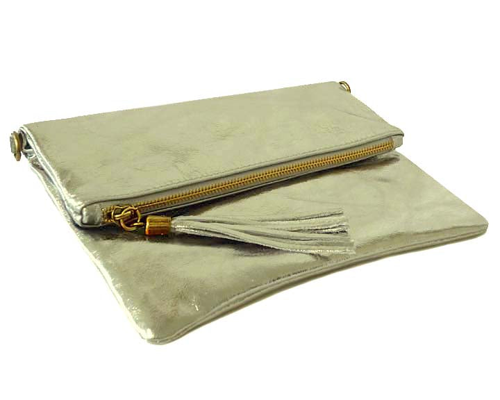 A-SHU METALLIC SILVER LARGE GENUINE LEATHER FOLD-OVER ENVELOPE CLUTCH BAG WITH TASSEL AND LONG STRAP - A-SHU.CO.UK