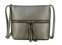 A-SHU METALLIC PEWTER MULTI COMPARTMENT CROSSBODY BAG WITH LONG STRAP - A-SHU.CO.UK