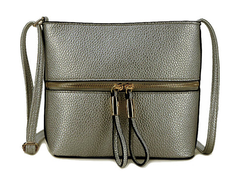 METALLIC PEWTER MULTI COMPARTMENT CROSSBODY BAG WITH LONG STRAP