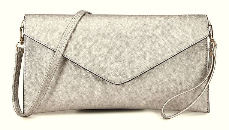 METALLIC SILVER OVER-SIZED ENVELOPE CLUTCH BAG WITH LONG CROSS BODY AND WRISTLET STRAPS