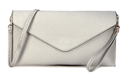 METALLIC SILVER OVER-SIZED ENVELOPE CLUTCH BAG WITH LONG CROSS BODY AND WRISTLET STRAP