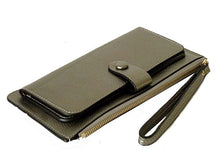 A-SHU METALLIC SILVER SLIM LINE MULTI-COMPARTMENT PURSE WITH WRIST STRAP - A-SHU.CO.UK