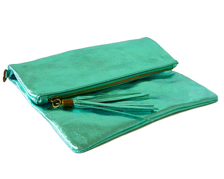 METALLIC TURQUOISE BLUE LARGE GENUINE LEATHER FOLD-OVER ENVELOPE CLUTCH BAG WITH TASSEL AND LONG STRAP