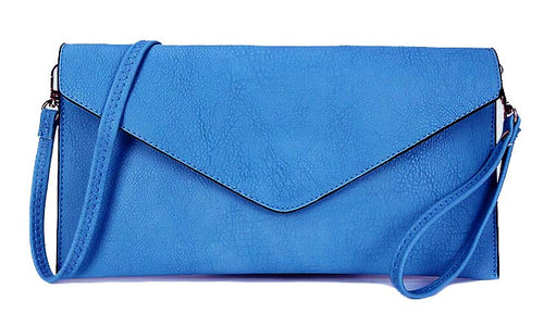A-SHU LIGHT BLUE OVER-SIZED ENVELOPE CLUTCH BAG WITH LONG CROSS BODY AND WRISTLET STRAP - A-SHU.CO.UK