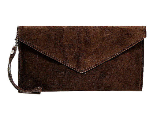 GENUINE SUEDE MID BROWN OVER-SIZED ENVELOPE CLUTCH BAG / SHOULDER BAG WITH LONG SHOULDER STRAP
