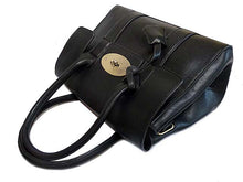 A-SHU MINI BLACK LEATHER EFFECT CLASSIC HANDBAG WITH TWIST-LOCK CLOSURE - A-SHU.CO.UK