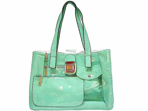 MINT DESIGNER STYLE CLEAR TRANSPARENT MULTI-COMPARTMENT HANDBAG WITH MATCHING PURSE