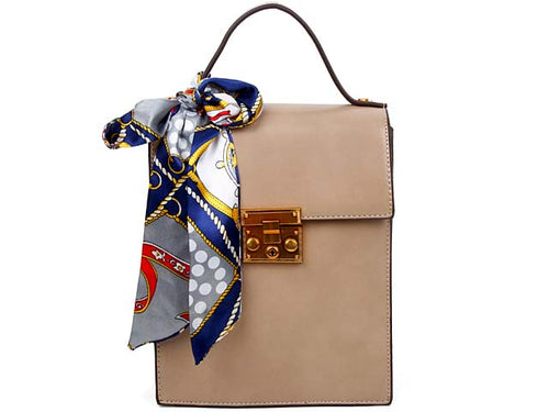 A-SHU MULTI-COMPARTMENT BEIGE BLUSH CROSS-BODY HOLDALL HANDBAG WITH SCARF ATTACHMENT - A-SHU.CO.UK