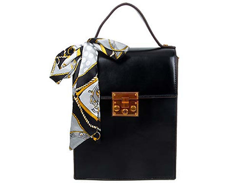 A-SHU MULTI-COMPARTMENT BLACK CROSS-BODY HOLDALL HANDBAG WITH SCARF ATTACHMENT - A-SHU.CO.UK