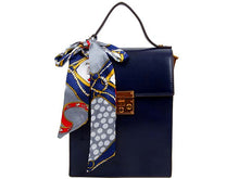 A-SHU MULTI-COMPARTMENT BLUE CROSS-BODY HOLDALL HANDBAG WITH SCARF ATTACHMENT - A-SHU.CO.UK