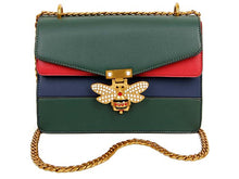 MULTI-COMPARTMENT BUTTERFLY CROSS-BODY SHOULDER BAG WITH CHAIN STRAP - GREEN