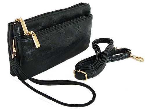 MULTI-COMPARTMENT CROSSBODY PURSE BAG WITH WRIST AND LONG STRAPS - BLACK