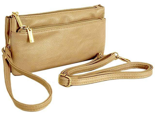 MULTI-COMPARTMENT CROSSBODY PURSE BAG WITH WRIST AND LONG STRAPS - NUDE BEIGE