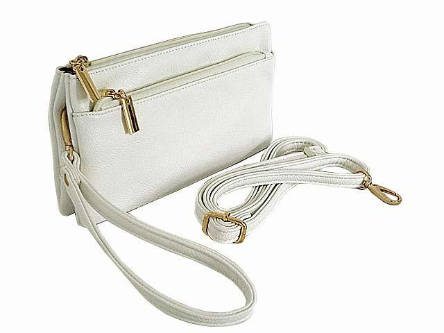 MULTI-COMPARTMENT CROSSBODY PURSE BAG WITH WRIST AND LONG STRAPS - WHITE