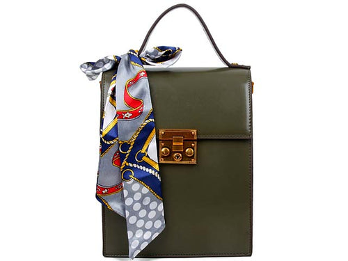 A-SHU MULTI-COMPARTMENT KHAKI GREEN CROSS-BODY HOLDALL HANDBAG WITH SCARF ATTACHMENT - A-SHU.CO.UK