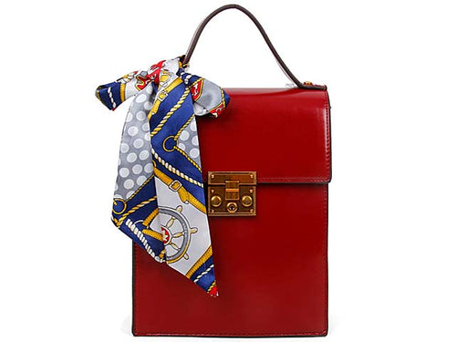 A-SHU MULTI-COMPARTMENT RED CROSS-BODY HOLDALL HANDBAG WITH SCARF ATTACHMENT - A-SHU.CO.UK