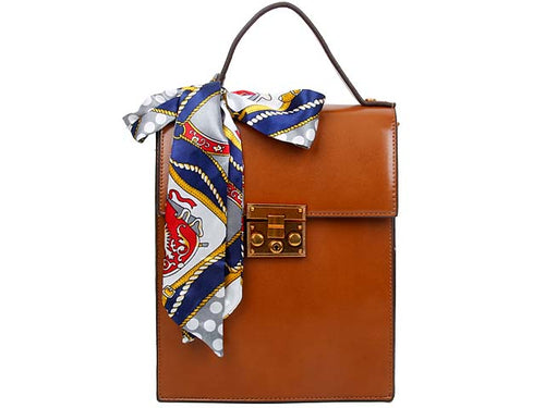 A-SHU MULTI-COMPARTMENT TAN CROSS-BODY HOLDALL HANDBAG WITH SCARF ATTACHMENT - A-SHU.CO.UK