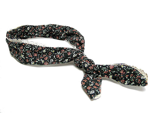 MULTI-FUNCTIONAL BENDY FLORAL HEADBAND/ NECK-WRIST-HAIR TIE - BLACK LACE FLORAL